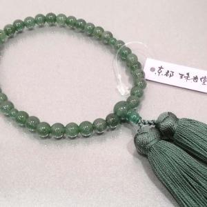 数珠 数珠 女性用 翡翠 正絹古都房付き|nihondou-webshop