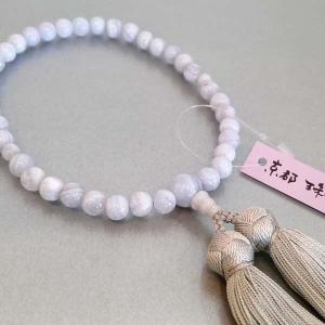 念珠 女性用「カルセドニー」正絹古都房付き 数珠 女性用|nihondou-webshop