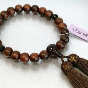 数珠 男性用 素挽紫檀 茶水晶入り 正絹房付き|nihondou-webshop