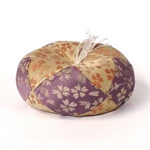 「日和 丸布団 1号 紫・オレンジ」リン布団 おりん布団 丸型 仏具 花柄|nihondou-webshop
