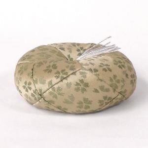 「日和 丸布団 2号 グリーン」リン布団 おりん布団 丸型 仏具 花柄|nihondou-webshop