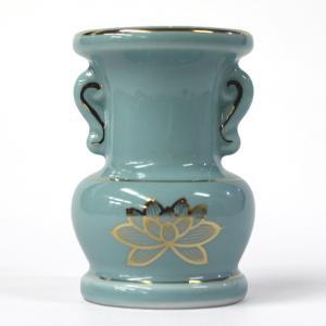 陶器製 花立「セト花立 3寸」青磁上金蓮 花瓶 仏具用品|nihondou-webshop