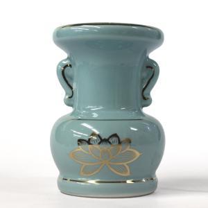 陶器製 花立「セト花立 3.5寸」青磁上金蓮 花瓶 仏具用品|nihondou-webshop