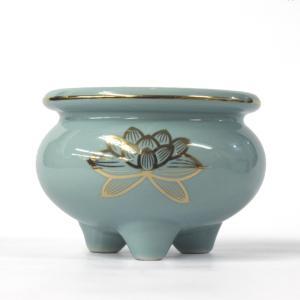 陶器製 香炉「セト香炉 3.5寸」青磁上金蓮 香炉 仏具 小物|nihondou-webshop