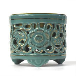 「青磁土香炉 浄土真宗東用 3寸」陶器製 透かし香炉 青磁色 香炉 仏具 小物|nihondou-webshop