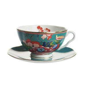 ウェッジウッド ペオニア ブラッシュ ティーカップ&ソーサー グリーン|nihonnotsurugi