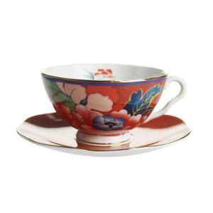 ウェッジウッド ペオニア ブラッシュ ティーカップ&ソーサー レッド|nihonnotsurugi