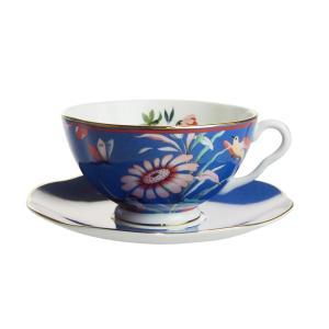ウェッジウッド ペオニア ブラッシュ ティーカップ&ソーサー ブルー|nihonnotsurugi