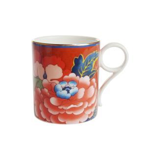 ウェッジウッド ペオニア ブラッシュ マグカップ レッド|nihonnotsurugi