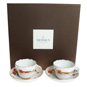 マイセン (Meissen) 宮廷ドラゴン レッド コーヒー カップ&ソーサー ペア c0004|nihonnotsurugi