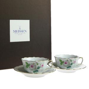 マイセン (Meissen) ホワイト ローズ ティーカップ&ソーサー ペア 029510/C0007|nihonnotsurugi