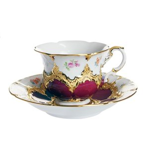 マイセン 金彩小花 パープルゴールド コーヒーカップ&ソーサー 012079/15582|nihonnotsurugi