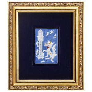 マイセン 額装陶画 青のメルヘン 狼と七匹の子ヤギ達 930008/9P334(931735/95N92)|nihonnotsurugi