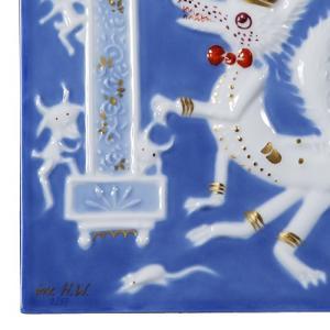 マイセン 陶画 青のメルヘン 930008/9P334(931735/95N92) 狼と七匹の子ヤギ達 nihonnotsurugi 02