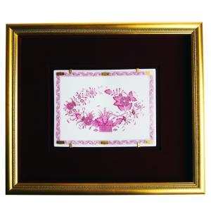 ヘレンド  額装陶画  FP インドの華 ピンク SP689|nihonnotsurugi