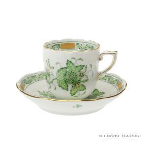 ヘレンド FV インドの華 グリーン モカカップ&ソーサー 709|nihonnotsurugi