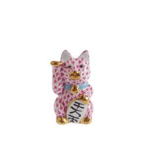 ヘレンド 人形 VHP15579 招き猫 千万両 ピンク(小)|nihonnotsurugi