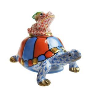 ヘレンド 人形 VHB+VH+CD 亀と蛙と蝶 15069|nihonnotsurugi