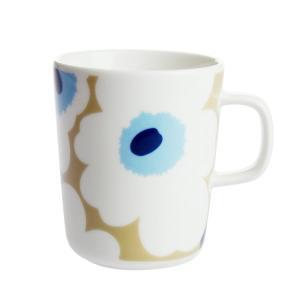 マリメッコ ウニッコ マグカップ 250ml ベージュ×ホワイト×ブルー 815|nihonnotsurugi