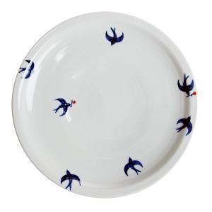 日下華子 九谷焼 つばめ 7寸皿 #165|nihonnotsurugi