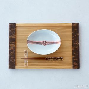 日下華子 九谷焼 赤絵帯締め 楕円浅鉢 #184|nihonnotsurugi