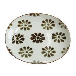 日下華子 九谷焼 印判花文 楕円皿 17cm|nihonnotsurugi