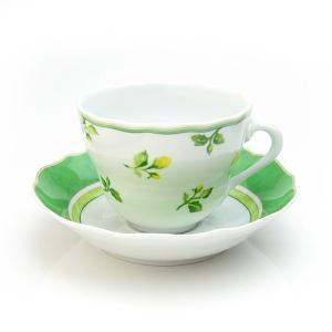フッチェンロイター (HUTSCHEN REUTHER) サマードリームグリーン コーヒーカップ&ソーサー【カップ溝あり型】|nihonnotsurugi