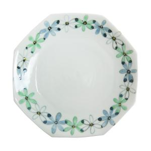 九谷青窯 望月彩 色絵 花重ね 緑 八角皿|nihonnotsurugi