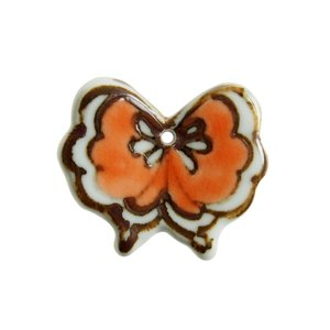 九谷青窯 望月彩 色絵蝶 オレンジ 箸置き&ペンダントトップ|nihonnotsurugi