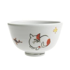 内村七生 色絵 手描き猫茶碗 ねこ飯碗|nihonnotsurugi
