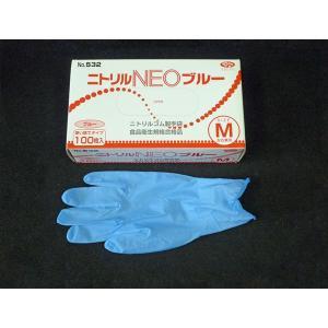 ニトリルグローブ NEOブルー M(粉つき)100枚入|nihonpearl