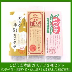 しばうま本舗カステラ3種セット 【新潟ふるさと村限定販売品】 加勢牧場のガンジー牛乳を使用したカステラ・黒糖ぽっぽ・もも太郎味 各1本|niigata-furusatowari