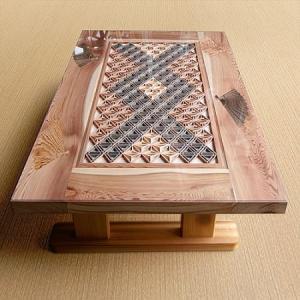 美しい国産杉の木目と組子、象嵌のコラボ! 組子テーブル(国産杉使用) 吉建製作|niigata-honmono