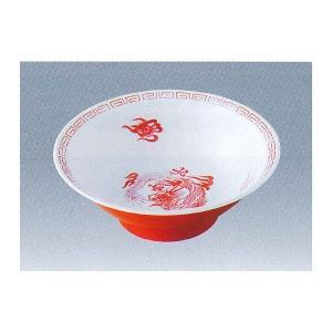 瑞祥外赤内白 中華丼(竜模様) 白/赤 メラミン CA-10|niigata-kitchen