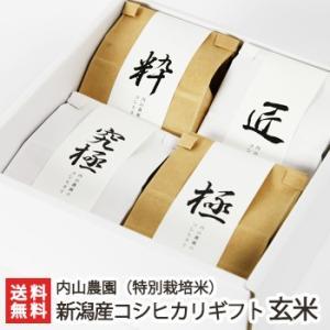 29年度米 新潟産 特別栽培米コシヒカリ「玄米」食べ比べ 2合×4袋ギフトセット 内山農園/のし無料 送料無料|niigata-shop