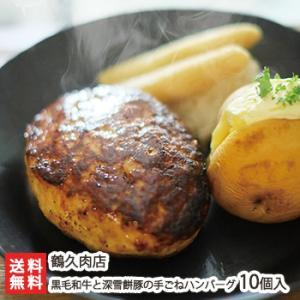 国産黒毛和牛と深雪餅豚の手ごねハンバーグ 10個入(1個あたり100g)鶴久肉店/送料無料 niigata-shop