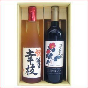 名入れ 梅酒 ワイン ギフトセット 720ml×2本 名前入り 新潟清酒仕込梅酒 岩の原ワイン 深雪花 赤 送料無料 niigatameisyuoukoku