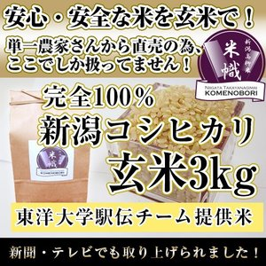 栄養豊富【玄米3kg】新潟高柳米米幟【安心・安全な米で健康食】|niigatanokome