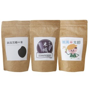【送料込!お中元・贈り物に】新潟の米3種食べ比べ2合(300g)3個ギフトセット【新パッケージ】|niigatanokome
