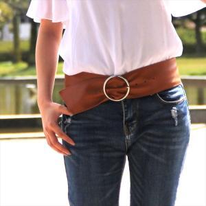 サッシュベルトシングルリング sash belt フェイクレザー 並 太いベルト ウエストサイズ自在 合皮 合成皮革 カジュアル かっこいい かわいい きれい 即納 niitas