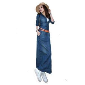 デニムワンピース レディース 女性用 大きめのサイズ 3XL ジーンズ生地 春夏秋 ロングワンピース ワンピース ベルト付き 着痩せ 7分袖 大きいサイズ 即納|niitas