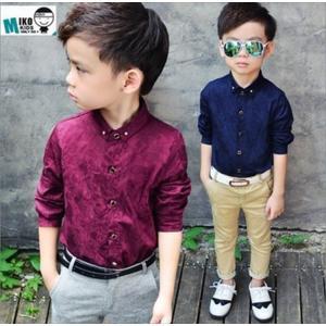 男の子 子供用 キッズ シャツ ブラウス 上着 ドレスシャツ フォーマル 柄 ネイビー 即納 niitas
