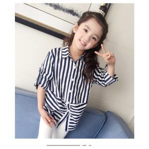 女の子 子供用 キッズ シャツ ブラウス 上着 シャツ カジュアル フォーマル ボーダー 柄 春 夏 秋 かわいい かっこいい 即納 niitas