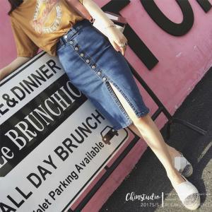 デニム スカート レディース 韓国ファション 女性用 美脚 スリット ボトムス  膝丈 ジーンズ生地 かわいい 即納 敬老の日 niitas