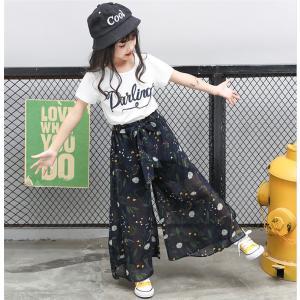 キッズ用 セットアップ 子供服 女の子 Tシャツ ワイドパンツ ガウチョパンツ 上下セット かわいい おしゃれ 普段着 通学着 お出かけ niitas