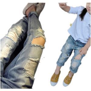 デニム 子供服 ジーンズ キッズ ダメージ加工 ダメージジーンズ デニムパンツ 男女兼用 韓国ファッション 120cm 女の子 男の子 即納 niitas