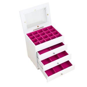 ジュエリーボックス(宝石箱) 4段 引き出し収納付き ホワイト(白)|nijiiromarket