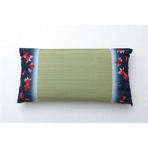 低反発ウレタンチップ入り い草枕 『水金魚 低反発枕 箱付』 ブルー 約50×30cm|nijiiromarket