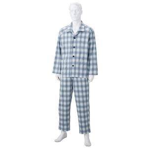 きほんのパジャマ(寝巻き) 〔紳士用 L〕 綿100% マジックテープ付き ズボン/前開き (介護用品) グレー(灰)|nijiiromarket