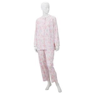 きほんのパジャマ(寝巻き) 〔婦人用 S〕 綿100% マジックテープ付き ズボン/前開き (介護用品) ピンク|nijiiromarket